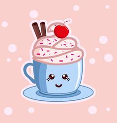 kawaii coffee with icecream cute cafe drinks vector image