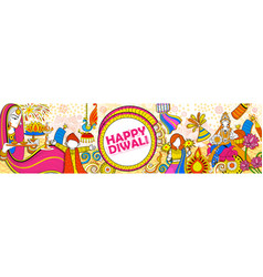 kid celebrating happy diwali holiday doodle vector image