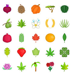 leaves icons set cartoon style vector image