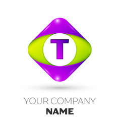 letter t logo symbol in colorful rhombus vector image