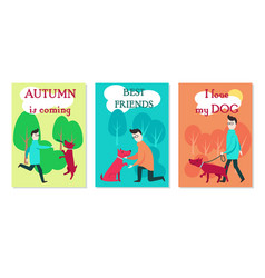 Man with dog cards flat vector