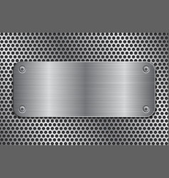 metal plate with screws on perforated texture vector image