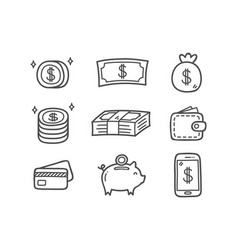 Money doodle icons vector