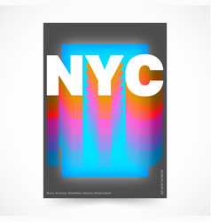New york city poster nyc colorful design vector