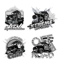 off-road atv buggy black and white logo vector image
