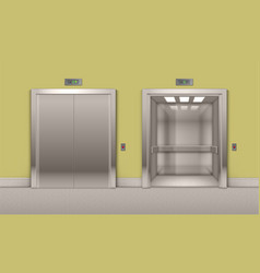 Open and closed office building elevator doors vector