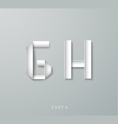 Paper Origami alphabet G H with shadows vector