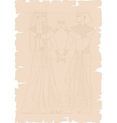 Papyrus with Egyptian Couple vector image