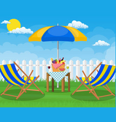 picnic party sun lounger vector image