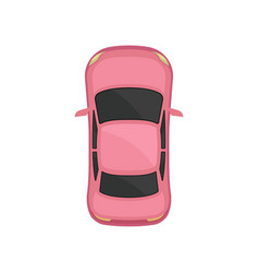 Pink car top view city vehicle transport vector