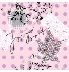 Pink grunge pattern in polka dot vector