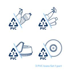 plastic items icon set vector image