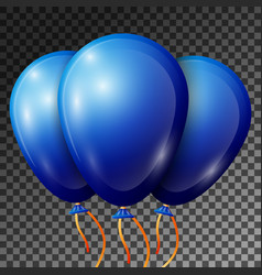 realistic blue balloons with ribbons isolated vector image