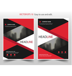 Red black abstract annual report brochure flyer vector