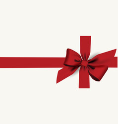 Red bow and ribbon isolated with horizontal vector