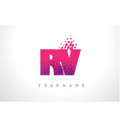 Rv r v letter logo with pink purple color and vector