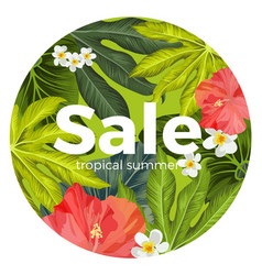 sale promotion card with tropical flowers and vector image