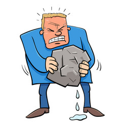 Saying squeezing water from stone humor cartoon vector