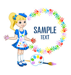 school background with little girl vector image