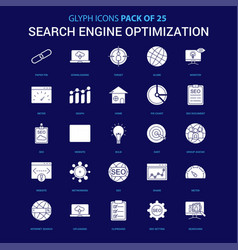 Search engine optimization white icon over blue vector