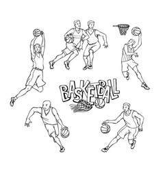 set basketball players in sports uniform vector image