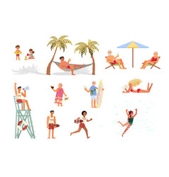 set different people on sea coast vector image