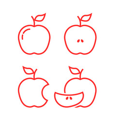 set red linear apples vector image
