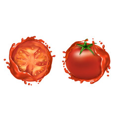 set two red ripe tomatoes with splashes vector image