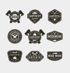 Set vintage carpentry logos vector