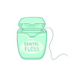 single cartoon color - dental floss in turquoise vector image
