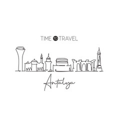 Single continuous line drawing antalya skyline vector