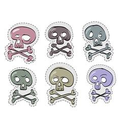 Six funny skulls vector image