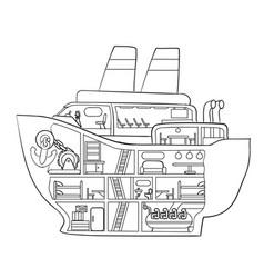 Sketch cruise ship inside coloring book vector