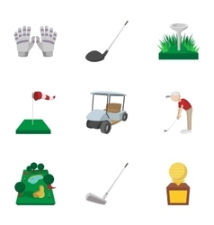 Sport golf icons set cartoon style vector image
