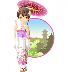summer kimono girl vector image