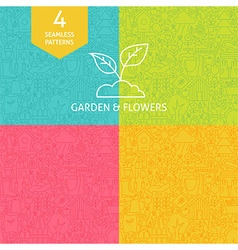 Thin Line Art Garden and Flowers Pattern Set vector image
