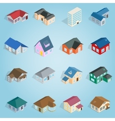 Town house cottage set icons isometric 3d style vector image