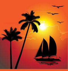 tropical evening sunset palm trees boat vector image
