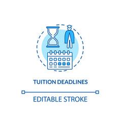Tuition deadlines concept icon vector