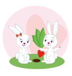 Two lovers rabbit with a carrot vector image