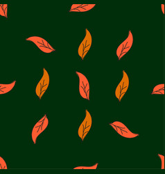 Vintage seamless leaves pattern hand drawn autumn vector