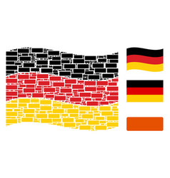 waving german flag pattern of building brick icons vector image