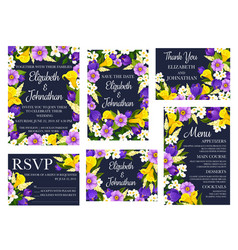 wedding floral invitations and greetings vector image