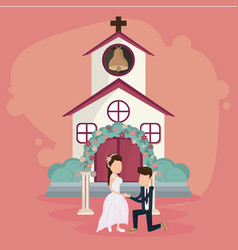 Wedding just married card vector