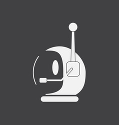 White icon on black background space helmet with vector