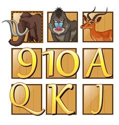 Wild animals on square badge vector