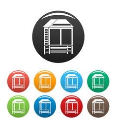 Wood asian house icons set color vector