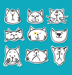 cute doodle cats stickers collection vector image
