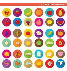 food icons shadow vector image