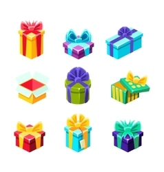 Gift Boxes With And Without A Present Inside vector image vector image